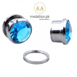 1 Pair Crystal Zircon Ear Plug Tunnel Piercing Earrings.-0