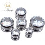 1 Pair Crystal Zircon Ear Plug Tunnel Piercing Earrings.-153