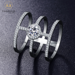 ANFASNI Unique Design Ladies Round 0.5 ct CZ Stone Tri-band Noble Ring for Girl with Top Quality Cubic Zircon Stone CRI0334