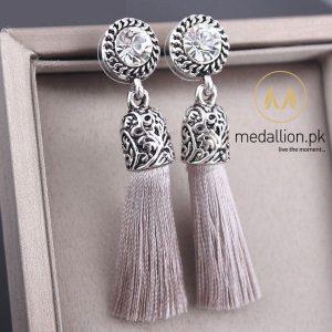 Antique Round Crystal Silk Tassel Earrings.-0