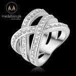Platinum Plated Genuine SWA Stellux Austrian Crystal Ring.-0