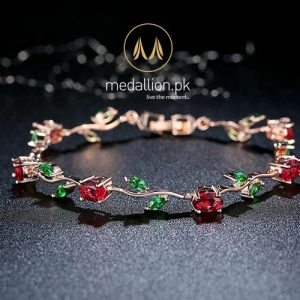 Rose Gold Plated Red + Green AAA Cubic Zirconia Bracelet.-142