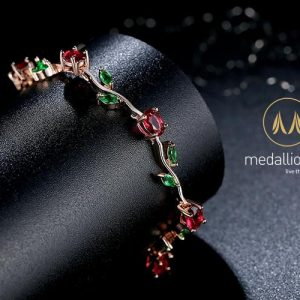 Rose Gold Plated Red + Green AAA Cubic Zirconia Bracelet.-0