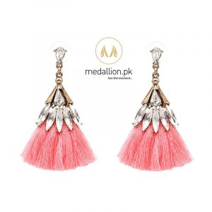Crystal Cotton Tassel Earrings Statement Dangle Drop Earrings.-237