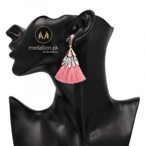 Crystal Cotton Tassel Earrings Statement Dangle Drop Earrings.-0