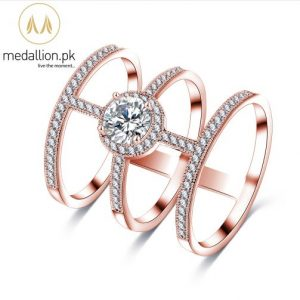 AAA Round Cubic Zirconia Rose Gold Plated Ring. -0