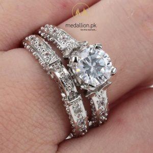 Platinum Plated AAAA Cubic Zirconia Princess Ring. -0