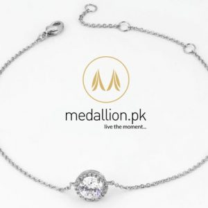Platinum Plated round AAA+ Cubic Zirconia Bracelet.-0