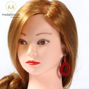 Crystal And Stone Beads Handmade Red Vintage Earrings. -220