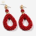 Crystal And Stone Beads Handmade Red Vintage Earrings. -0