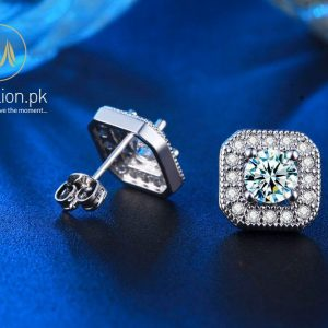 White Gold Plated AAA Cubic Zirconia Stud Earrings. -0