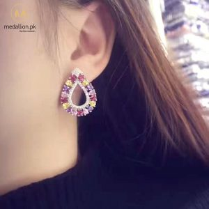 AAA Cubic Zirconia Waterdrop Shape Multi-color Stud Earrings.-729