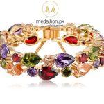 Gold Plated Multi Color AAA Zircon Bracelet. -247