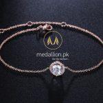 18k Rose Gold Plated Round Micro Mosaic Cubic Zirconia Bracelet.-0