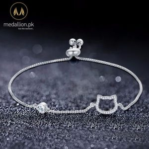 Silver Plated Cute Cat Bracelet for Girls.-356