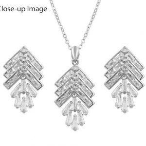 White Gold Plated CZ Leaf Jewelry Set-343