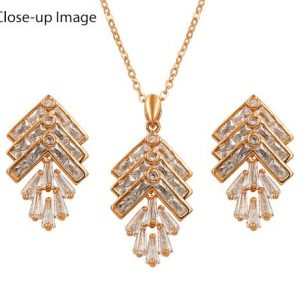 Rose Gold Plated CZ Leaf Jewelry Set-339