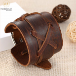 BAMOER Brown Genuine Leather Bracelet Adjustable With Cross & Alloy Clasp Birthday Gift for Lover PI0335