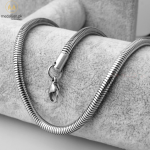 Silver Stainless Steel Necklace Snake Chain Fit Charms 60cm Thickness 4.2mm Extended Chain Detachable Clasp