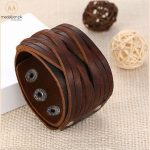 Genuine Brown Leather Bracelet With Alloy Buckle Adjustable Bracelet for Men.-0