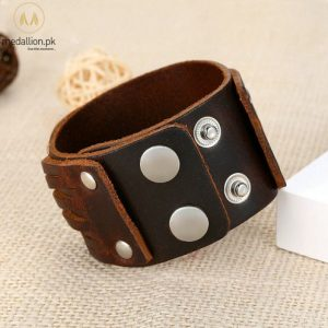 Genuine Brown Leather Bracelet With Alloy Buckle Adjustable Bracelet for Men.-396