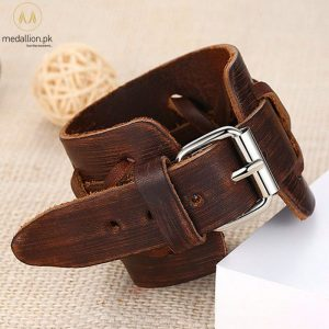 Genuine Brown Leather Adjustable Bracelet With Cross Design & Alloy.-398