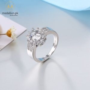 Charming 925 Sterling Silver Cubic Zirconia Ring.-0