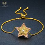 Gold Plated Red Austrian Rhinestone and Clear CZ Star Bracelet.-379