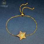 Gold Plated Red Austrian Rhinestone and Clear CZ Star Bracelet.-0