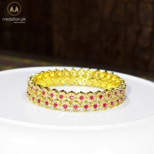 1 Karat Gold Plated Round Ruby Color Zircons Two Bangles. -0
