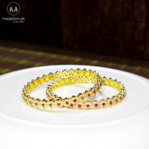 1 Karat Gold Plated Round Ruby Color Zircons Two Bangles. -438