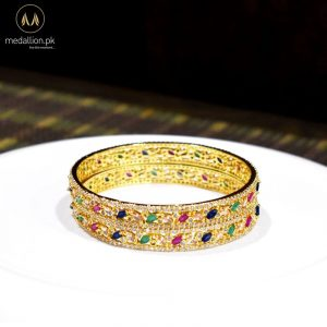 1 Karat Gold Plated Multicolor Color Zircons Two Bangles.-0
