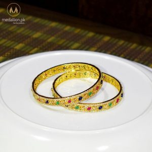 1 Karat Gold Plated Multicolor Color Zircons Two Bangles.-436