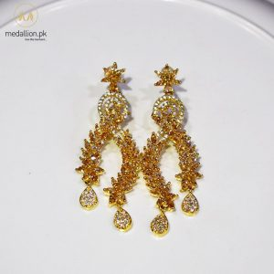 1 Karat Gold Plated Champagne Color Zircons Dangling Drop Earrings.-0