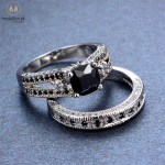 Bamos 2018 Gorgeous Male Female Black Ring Set Fashion 925 Silver Filled Jewelry Promise Engagement Rings For Men And Women 1