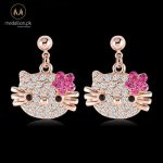 Rose Gold Plated Pink Stellux CZ Earrings for Girls.-0