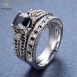 925 Sterling Silver Black Cubic Zirconia Ring Set.-0