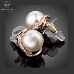 AZORA Rose Gold Color Stellux Austrian Rhinestone with Pearl Stud Earrings TE0051 2