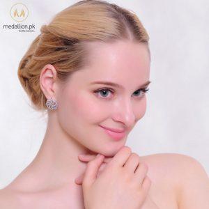 Platinum Plated Luxury Flower Shape AAA+ CZ Stud Earrings.-507