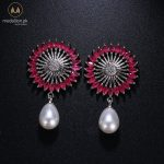 Red Bohemian White Gold Plated AAA+ CZ Simulated Pearl Earrings -0
