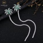 Platinum Plated Summer Coconut Tree Long Earrings-510