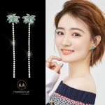 Platinum Plated Summer Coconut Tree Long Earrings-508