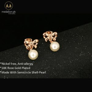 18K Rose Gold Plated Bowknot Stud Earrings for Girls-564