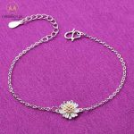 925 Sterling Silver Little Daisy Bracelet for Girls-0