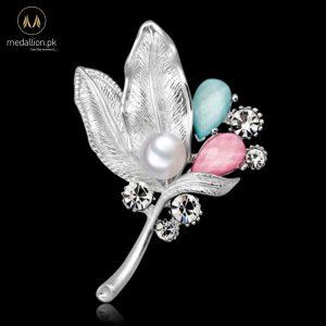 Imitation Pearls Rhinestone Leaves Flower Brooch Pin-0