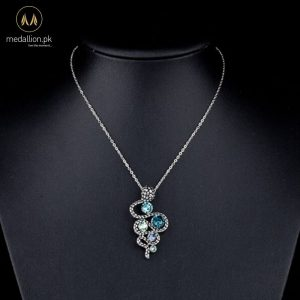 White Gold Plated Snake Style Austrian Stellux CZ Pendant-601