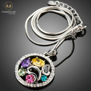 Luxury White Gold Plated Multicolored CZ Pendant -603