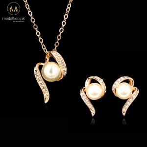18k Rose Gold Plated Simulated Pearl Jewelry Set-0