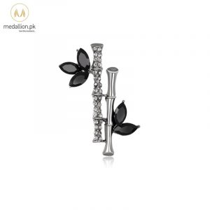 Korean Trendy Black Bamboo Rhinestone Brooch Pin-609
