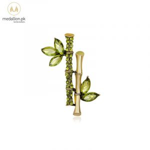 Korean Trendy Green Bamboo Rhinestone Brooch Pin-608